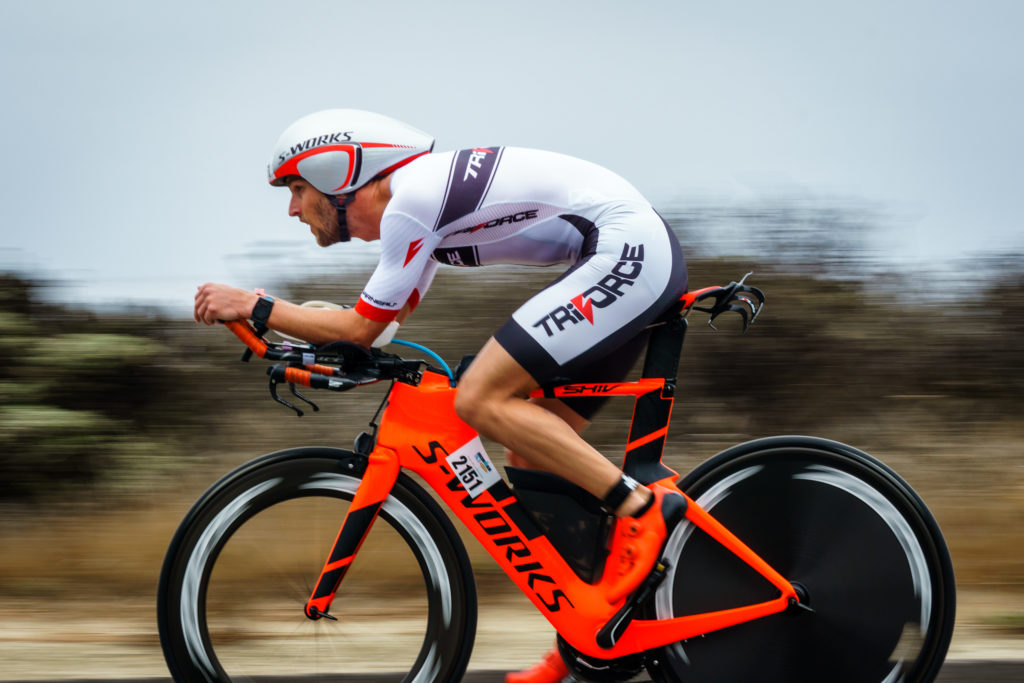 Sep  11, 2016 - Santa Cruz, CA, USA  - Andrew Sellergren (Men's 30-34 division) on Highway 1 during the 56 mile bike segment of the 2016 Ironman 70.3 Santa Cruz. Photo Credit: Craig Huffman